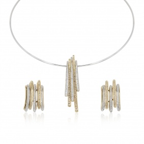 Two Colour Gold Diamond Necklace and Earring Suite